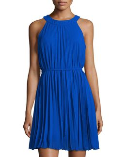 Halter-neck Pleated Shift Dress