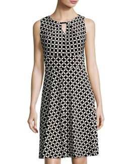 Keyhole Graphic-print Dress