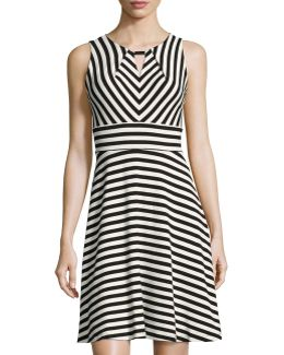Striped Keyhole Crepe Dress