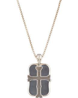 Men's London Calling Hematite Cross Double Dog Tag Necklace