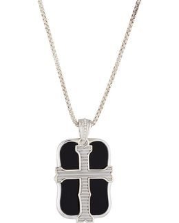 Men's London Calling Onyx Cross Double Dog Tag Necklace