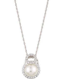 12mm Pearl Necklace W/ Cz Halo
