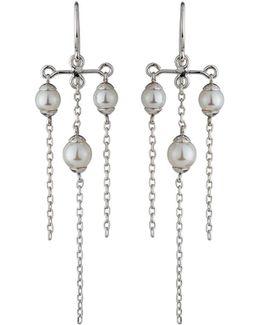 Tiered Triple-pearl Chandelier Earrings