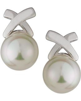 Rhodium-plated Pearl X Stud Earrings