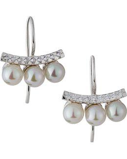 Pave Crystal Pearl Bar Drop Earrings
