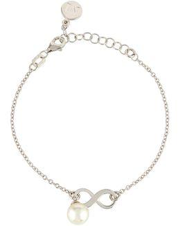 8mm Pearl Chain Bracelet W/ Infinity Station