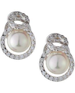 10mm Pearl Stud Earrings W/ Cz Halo