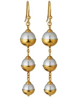 Graduated Triple-pearl Dangle Earrings