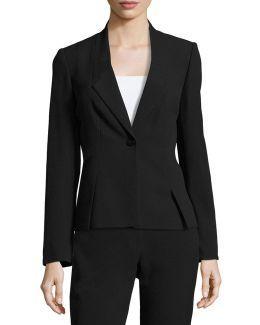 Slant-seamed One-button Blazer Jacket