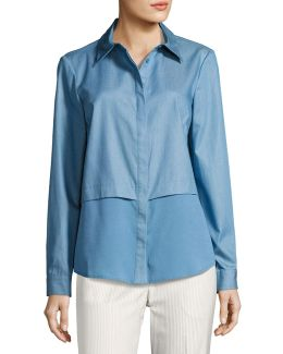 Shirting Blouse W/ Crepe De Chine Underlay