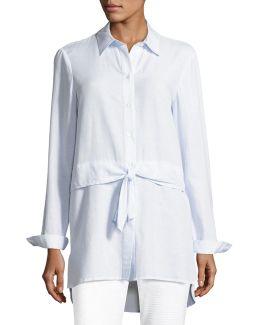 Waist-tie Striped Shirting Blouse