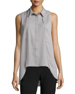 Collard Sleeveless Crepe Blouse
