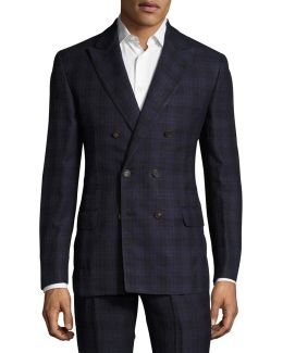 Madras Plaid Double-breasted Suit