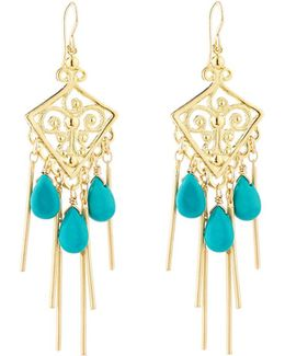 Golden Filigree Chandelier Earrings W/ Sleeping Beauty Turquoise