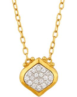 Clove 24k Small Pave Diamond Pendant Necklace