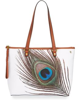 Ana Small Peacock Tote Bag