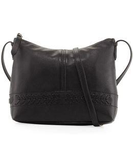 Lacey Herringbone-woven Trim Leather Crossbody Bag
