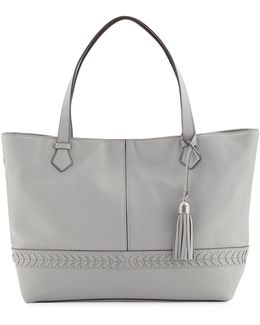 Lacey Herringbone-woven Trim Leather Tote Bag