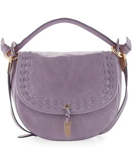 Violetta Woven Leather Saddle Bag