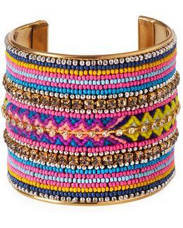 Wide Seed Bead Cuff Bracelet