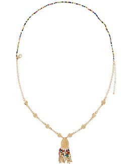 Layered Seed Bead Pendant Necklace