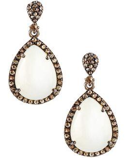 Champagne Diamond & Moonstone Teardrop Earrings