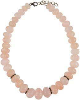 Rose Quartz & Diamond Rondelle Necklace