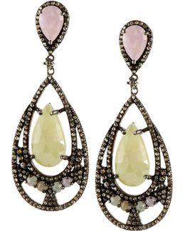 Multicolored Sapphire & Diamond Teardrop Earrings