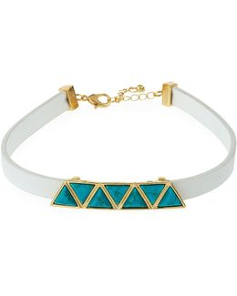 Faux-leather Station Choker W/ Simulated Turquoise