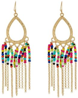 Seed Bead Fringe Dangle Earrings
