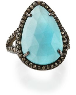 Turquoise & Champagne Diamond Teardrop Ring