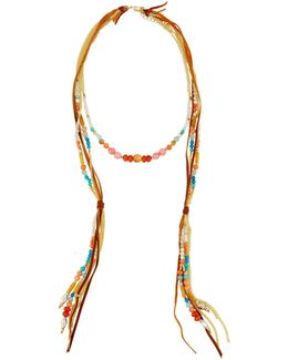 Long Beaded Leather Necklace
