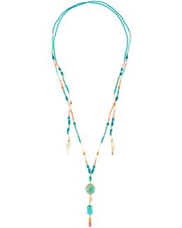 Long Beaded Lariat Choker Necklace