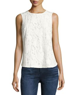 Sleeveless Palm Lace Top