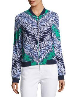 Leaf-print Bomber Jacket