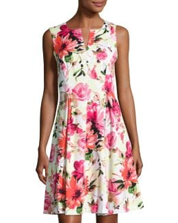 Notch-neck Sleeveless Floral-print Dress