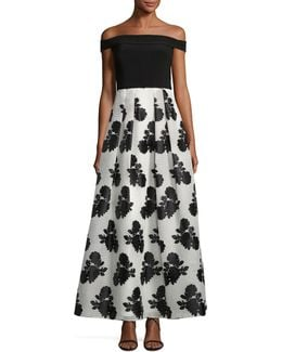 Strapless Floral-skirt Gown