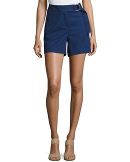 Ring-belted Cotton-blend Shorts