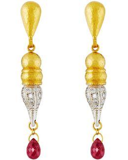 Sultan 24k/18k Two-tone Diamond & Ruby Drop Earrings