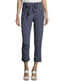Tie-waist Striped Crop Pants