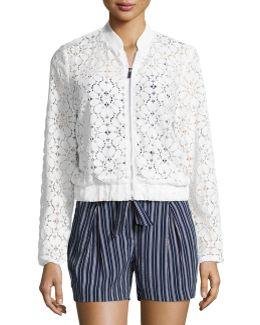 Semisheer Lace Bomber Jacket