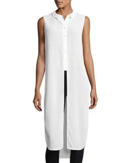 Side-slit Semisheer Sleeveless Tunic