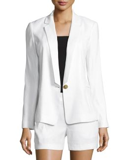 Linen-blend One-button Blazer