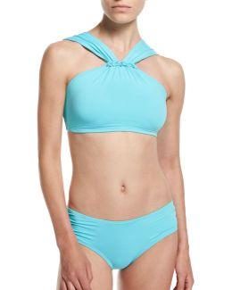 Beaded High-neck Swim Top