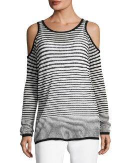Striped Cold-shoulder Top