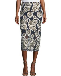 Carolina Floral-embroidered Midi Skirt
