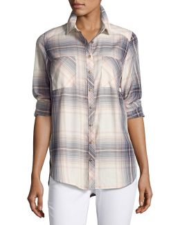 Long-sleeve Plaid Cotton Shirt