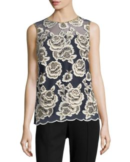 Floral-embroidered Sleeveless Blouse