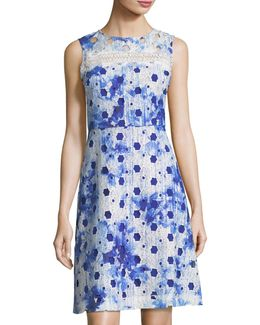 Grace Geometric-lace A-line Dress