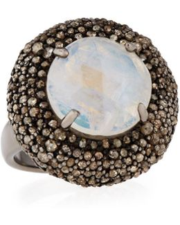 Rainbow Moonstone & Champagne Diamond Round Cushion Cocktail Ring
